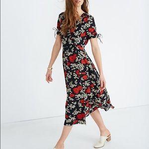 Madewell Peekaboo Sleeve Midi Floral Dress